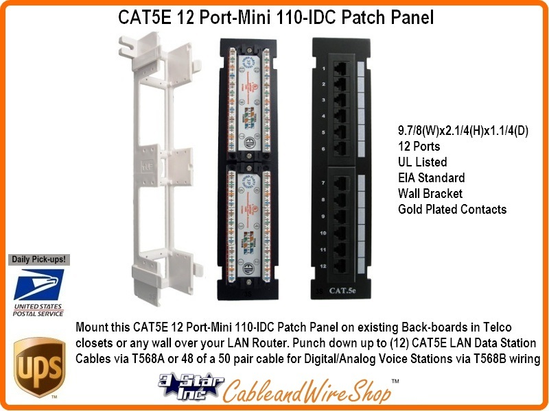 12 port cat5e mini patch panel vertical wall mount 110 idc type