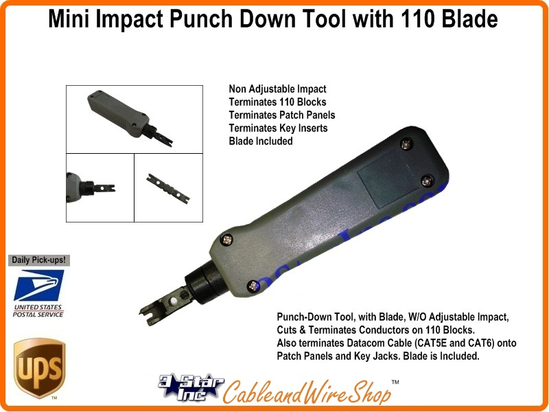 Mini Impact Punch Down Tool With 110 Blade Network Cable