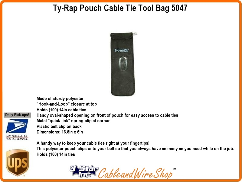Ty Rap Cable Tie Tool Bag Large Carry Pouch Sky5047