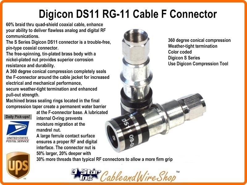 Rg11 Quad Shield Coax F Compression Connector Digicon Ds 11