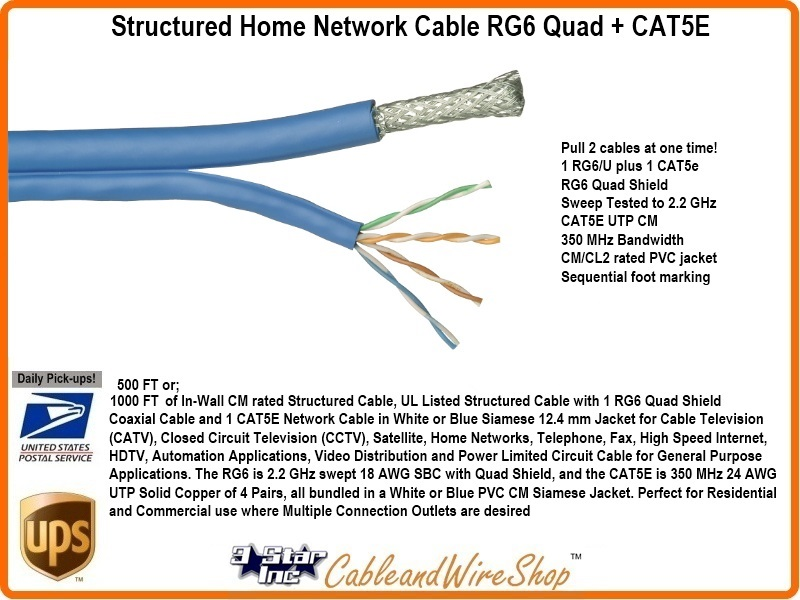bundled cable network wiring 1 rg6 shield 1 cat5e 1000ft