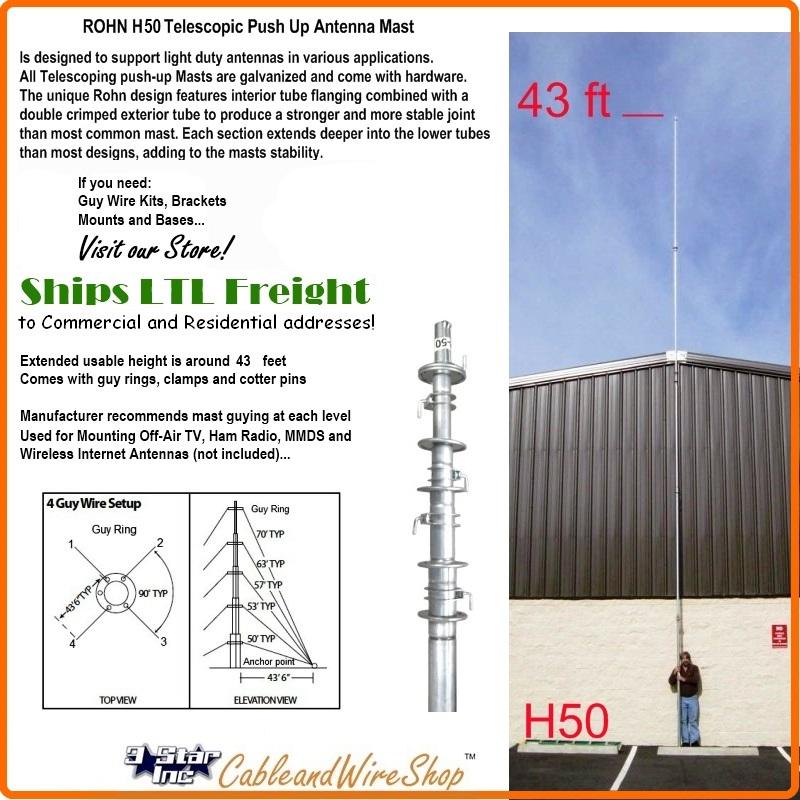 Rohn H50 50 Ft Telescopic Antenna Tv Ham Mast Push Up Pole
