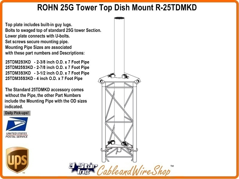 Rohn 25tdm25s3kd 25g Tower Top Dish Mount 2 7 8 Inch Od Mast