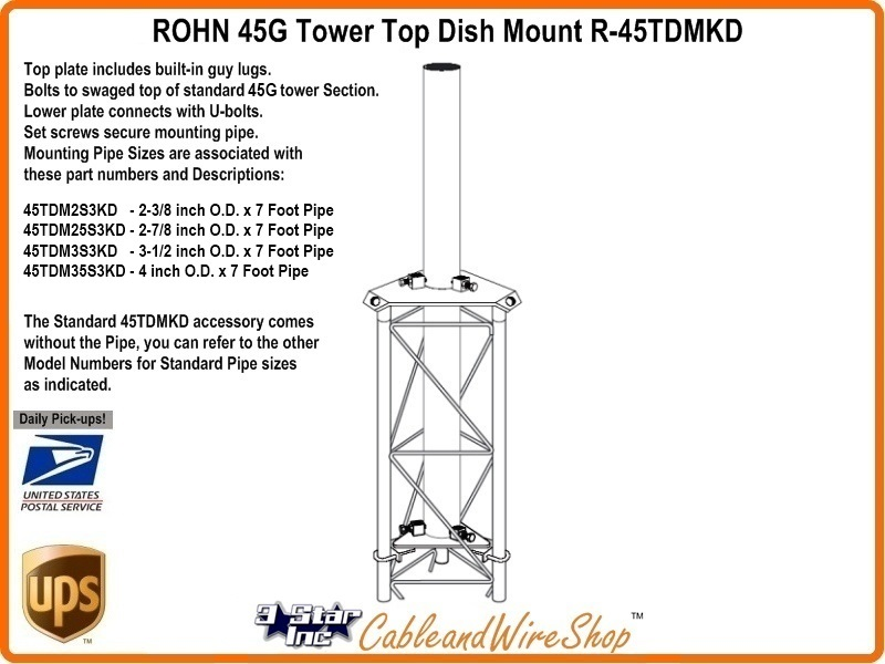 Rohn 45tdm2s3kd Dish Antenna Mount 2 3 8 Od Pipe For 45g Tower