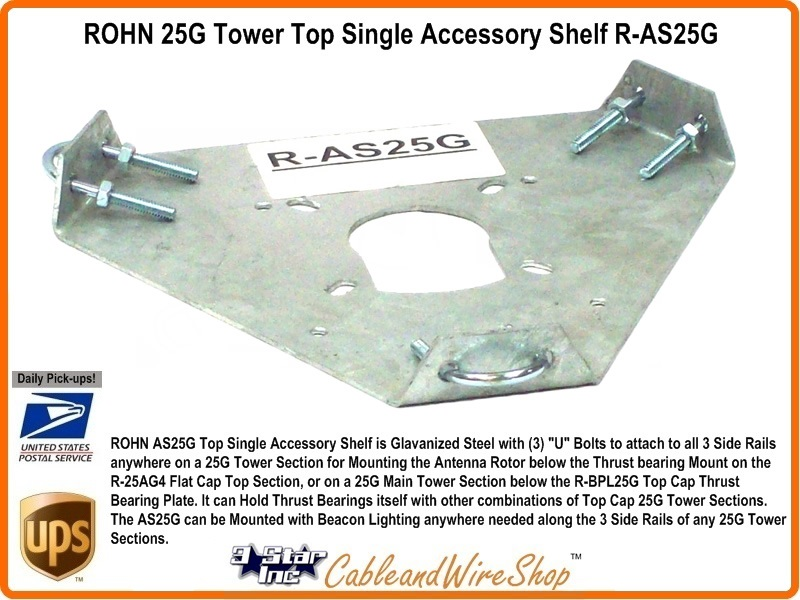 Rohn 25g Tower Top Single Accessory Shelf R As25g