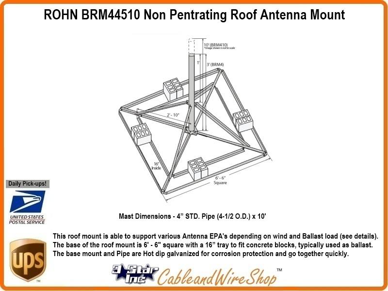 Rohn R Brm44510 Non Pentrating Roof Antenna Mount