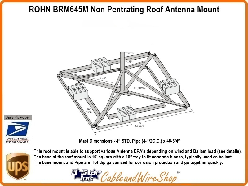 Rohn Brm645m Non Penetrating Roof Mount 4 1 2 Od Antenna Mast