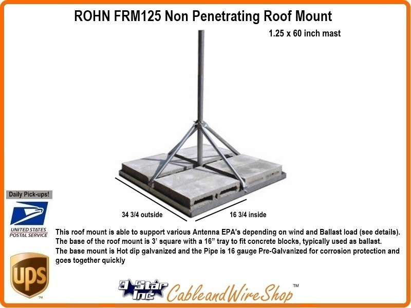 Rohn Frm125 Non Penetrating Roof Mount 1 1 4 Od Antenna Mast
