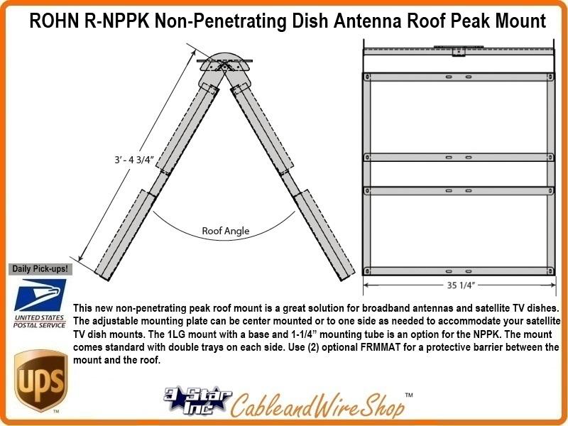 Rohn Nppk Non Penetrating Dish Directv Antenna Roof Peak Mount