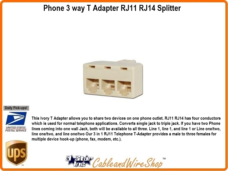 3 way telephone line t adaptor rj11 rj14 splitter 20853