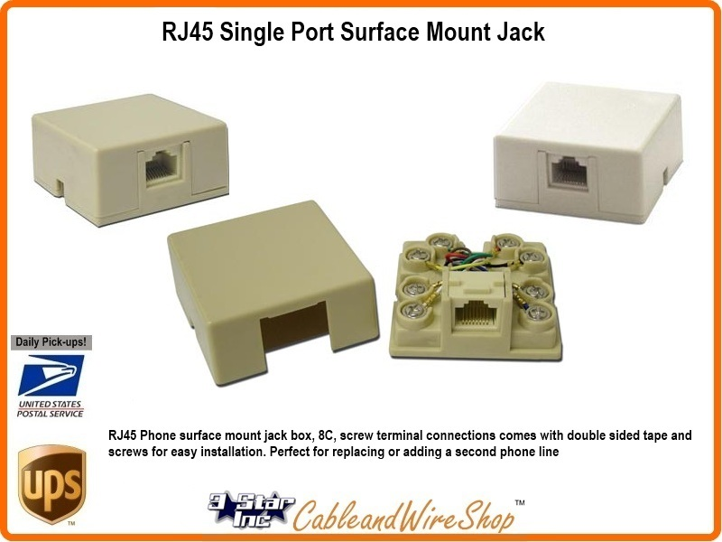 rj45 1 port adhesive in surface mount 8p8c white