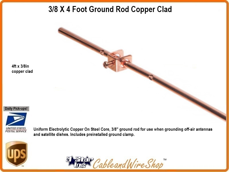 3 8 Inch X 4 Ft Ground Rod With Clamp Is Dish Network Approved