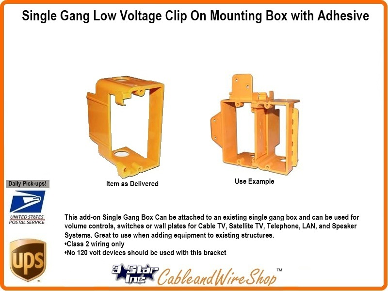 Add On Single Gang Low Voltage Mounting Box Adhesive Clip On