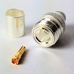 UHF Silver N Female 400 Connector for 50 Ohm Coaxial Cable.