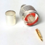 N Male Connector for Coaxial Cable | Silver on Brass | Gold Center Pin | LMR400 / RG-213 / RG-11