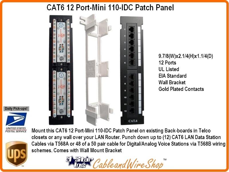 12 Port Cat6 Mini Patch Panel Vertical Wall Mount 110 Idc Type