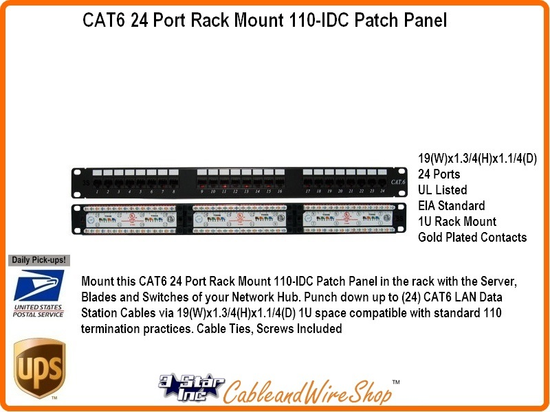 24 Port Cat6 Patch Panel Rack Mount 1u Horizontal 110 Idc Type