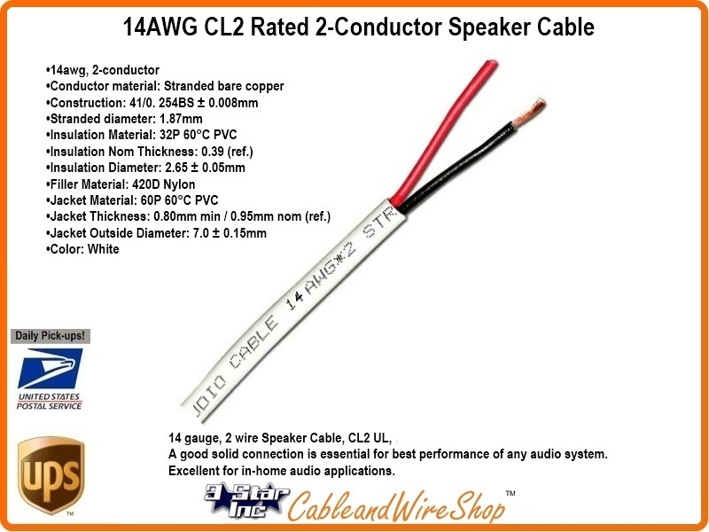2 Conductor 14AWG Stranded Bare Copper CL2 Speaker Cable 500 ft