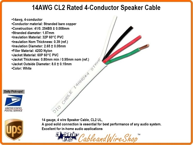 4 Conductor 14AWG Stranded Bare Copper CL2 Speaker Cable 500 ft