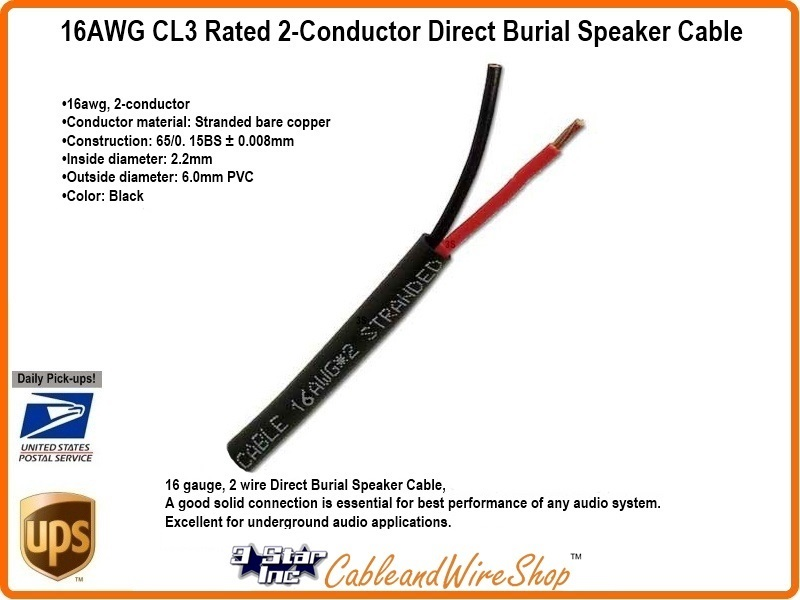2 Conductor 16awg Stranded Copper Cl3 Direct Burial