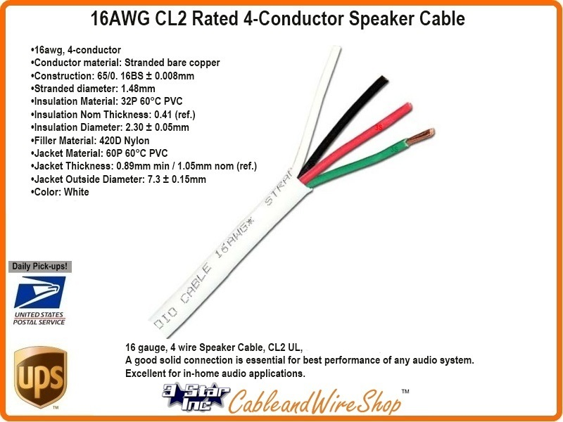 4 conductor 16 awg stranded bare copper cl2 speaker cable 500 ft rh cableandwireshop com