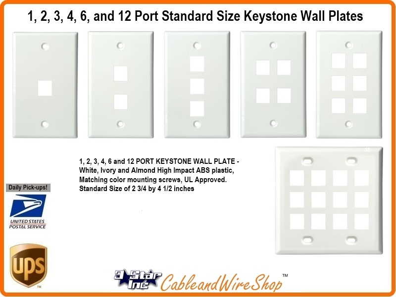 4 Port Keystone Wall Plate Standard Size White or Ivory SCP 204