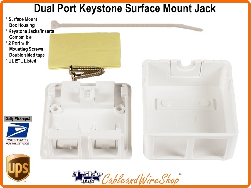 2 Port Keystone Jack Surface Mount Box White Scp 213 Wh