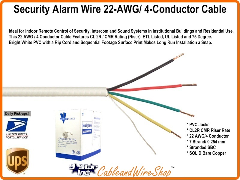 Security Alarm System Wire 22awg 4 Conductor Sbc Cable 293