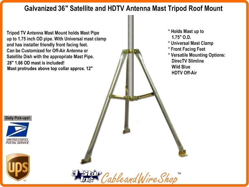 3 Ft Tripod Antenna Roof Mount 1 66 Od Mast For Satellite