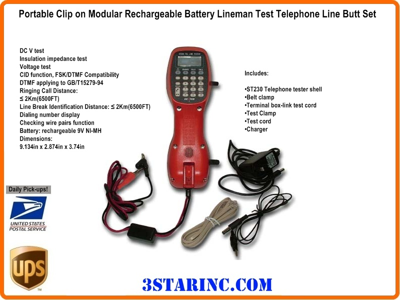 Lineman Telephone Butt Set With Rechargeable Battery Adv5051