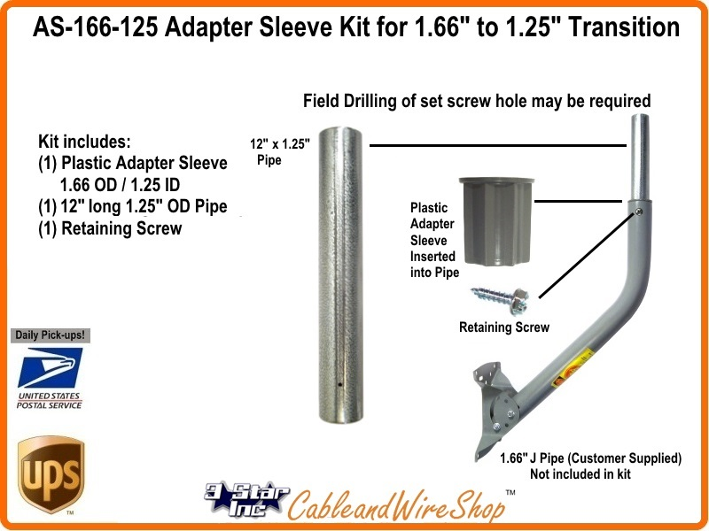Dish J Pipe Adaptor Sleeve Kit Coupler 1 66 1 25 Quot Od As