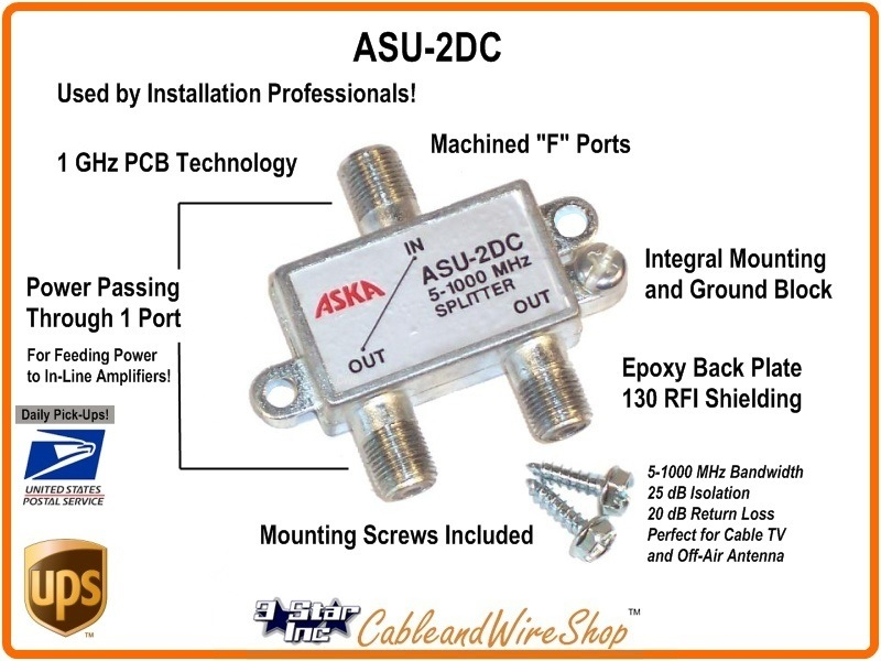 [SCHEMATICS_48IS]  2-Way Cable TV Antenna Splitter Power Passing ASKA ASU-2DC | Cable Tv Splitter Wiring Diagram |  | Cable & Wire Shop