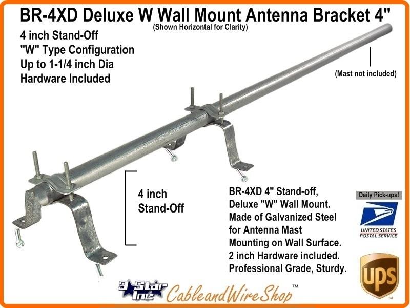 Tv Antenna Mast Bracket 3 Inch Standoff W Style Wall Mount