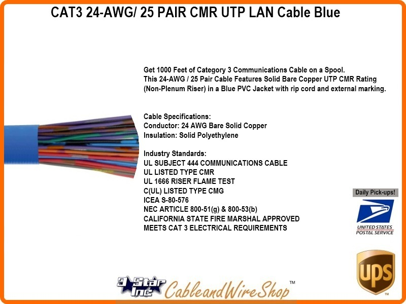 Cat3 25 Pair Riser Rated Cmr Stp 24awg Blue Pvc 1000ft