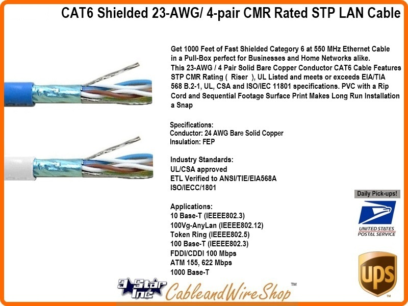 Cat6 Shielded Riser Cmr Stp 4 Pair 23awg Blue Pvc 1000ft