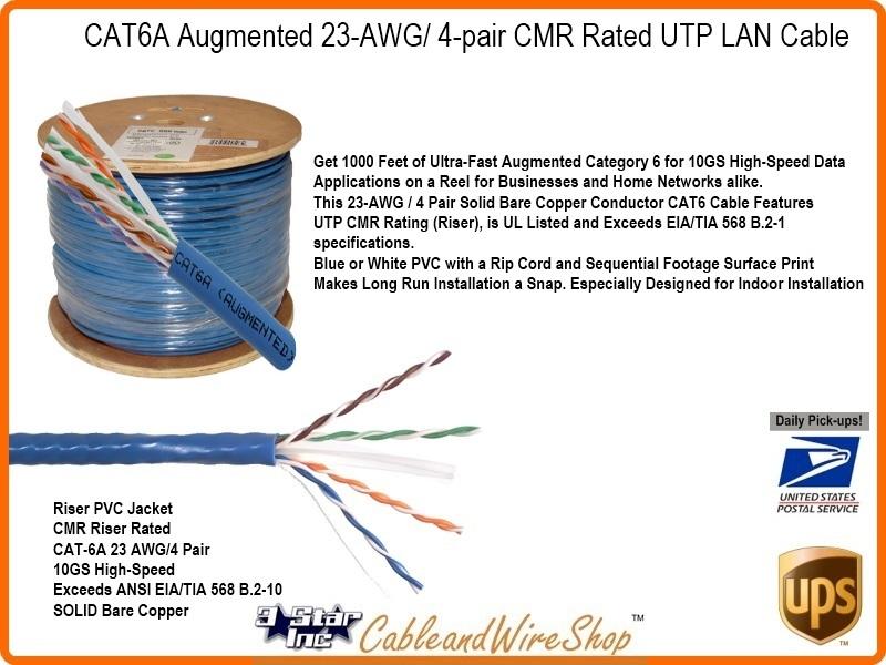 Cat6a Augmented Utp Cmr Riser 4 Pair 23awg Pvc Jacket 1000ft