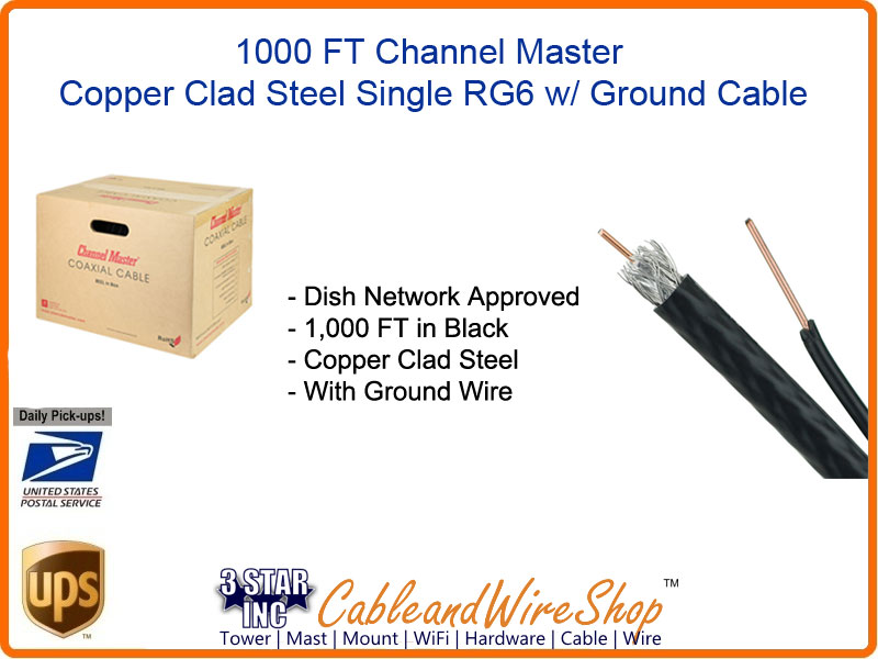 Dish Approved Channel Master RG6 Cable with Ground 1000 FT