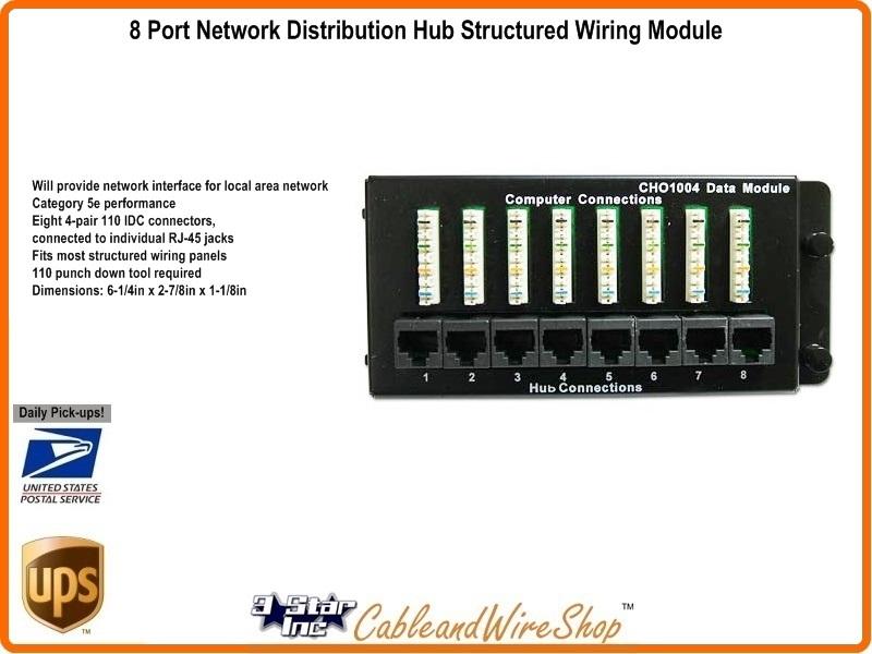 8 Port Data Network Module Fits Structured Wiring Network