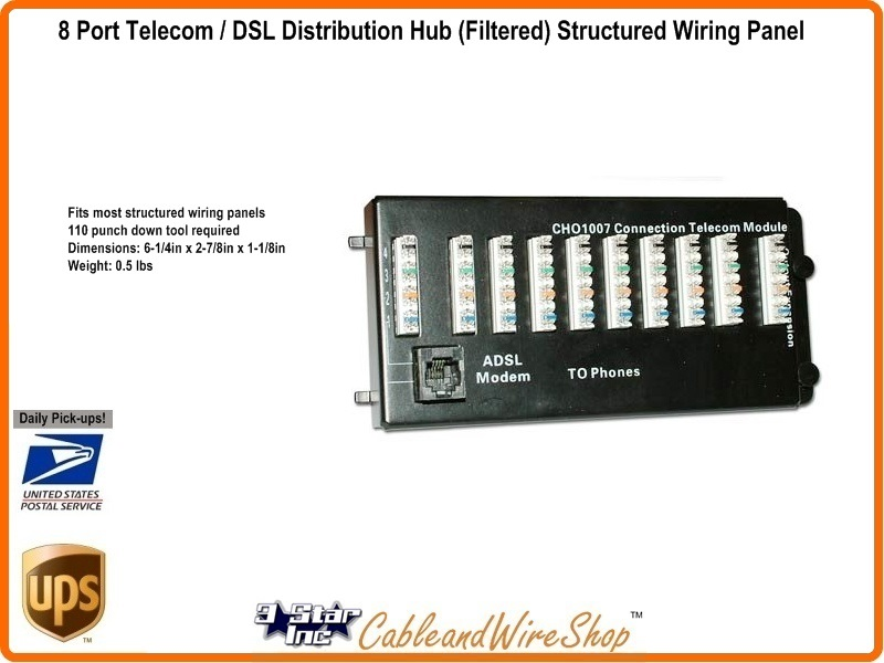8 port telephone module with dsl structured wiring network. Black Bedroom Furniture Sets. Home Design Ideas
