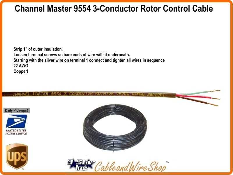 channel master 9554 antenna rotator control wire cable. Black Bedroom Furniture Sets. Home Design Ideas