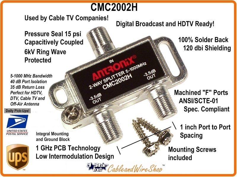 Digital Cable Tv Splitters : Antronix cmc h way cable tv antenna ghz splitter
