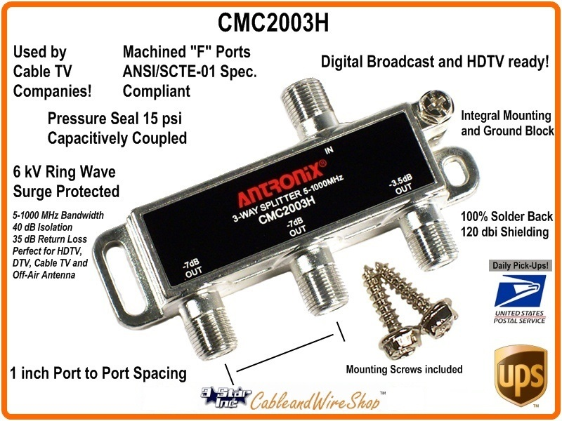 Antronix CMC2003H 3-Way Cable TV Antenna 1GHz Splitter