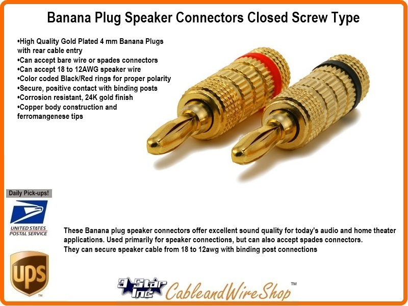 Types Of Speaker Wire Connections : Banana plug awg gold finished closed screw speaker