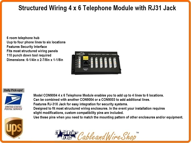 phone jack wiring 6 contacts 4 x    6    telephone module with rj31    jack    fits network wall panel  4 x    6    telephone module with rj31    jack    fits network wall panel