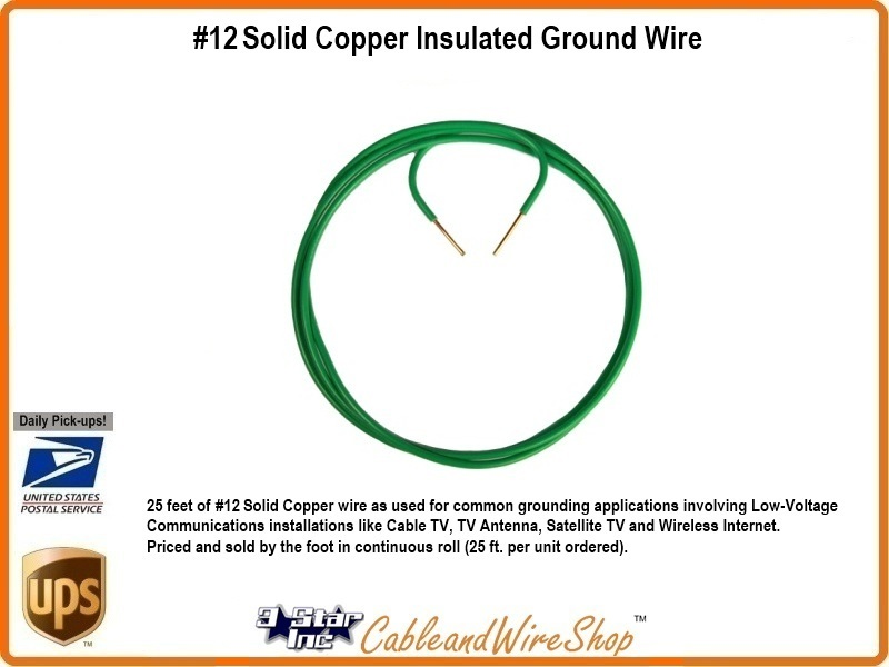 12 Copper Ground Wire : Solid copper insulated ground wire for rg coax grounding