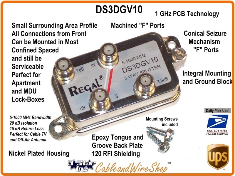 3-Way Cable TV Antenna Signal Splitter 1GHz REGAL DS3DGV10