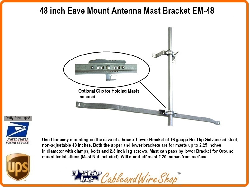 Wifi Tv Antenna Mast Bracket 48 Inch Roof Eave Wall Mount