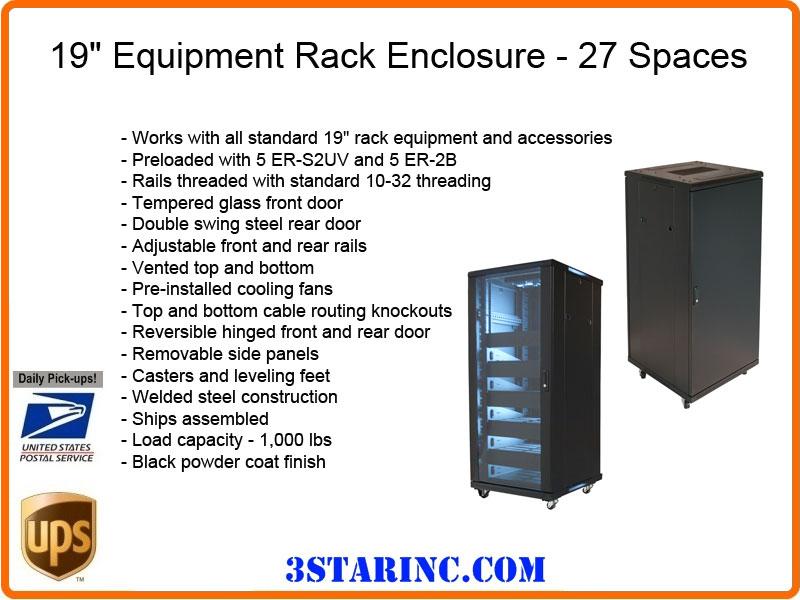 19 Inch Equipment Rack Enclosure 27u Preloaded Unit Vmp