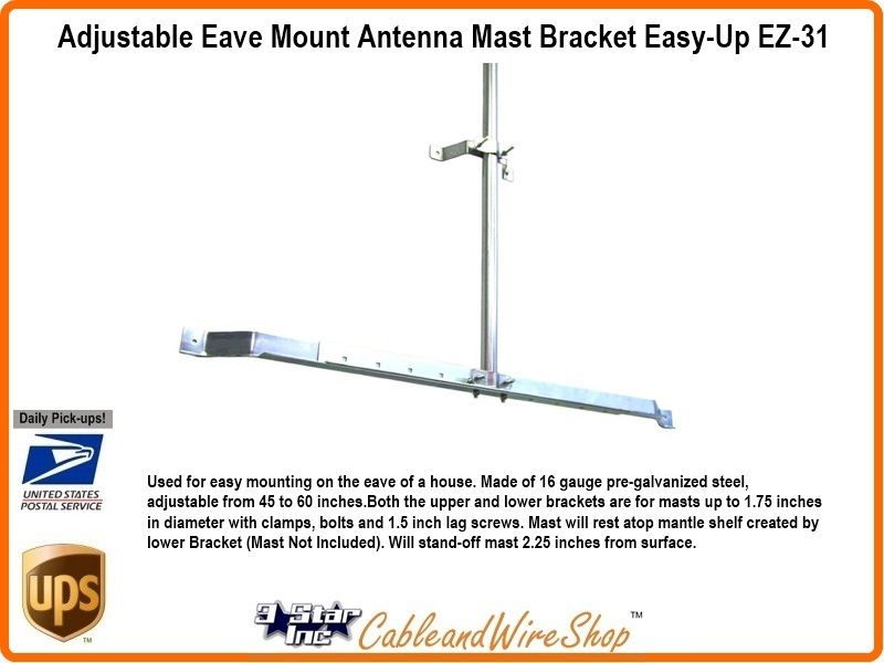 Wifi Tv Antenna Mast Bracket 45 60 Inch Roof Eave Wall Mount