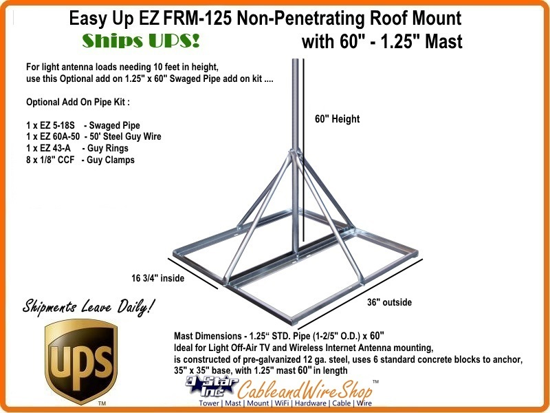 Non Penetrating Roof Mount For Antenna 1 25 Quot X 120 Quot Mast
